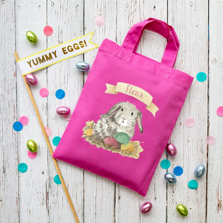 Personalised bunny Easter bag (Pink bag) is the perfect way to make your child's Easter egg hunt super special this year