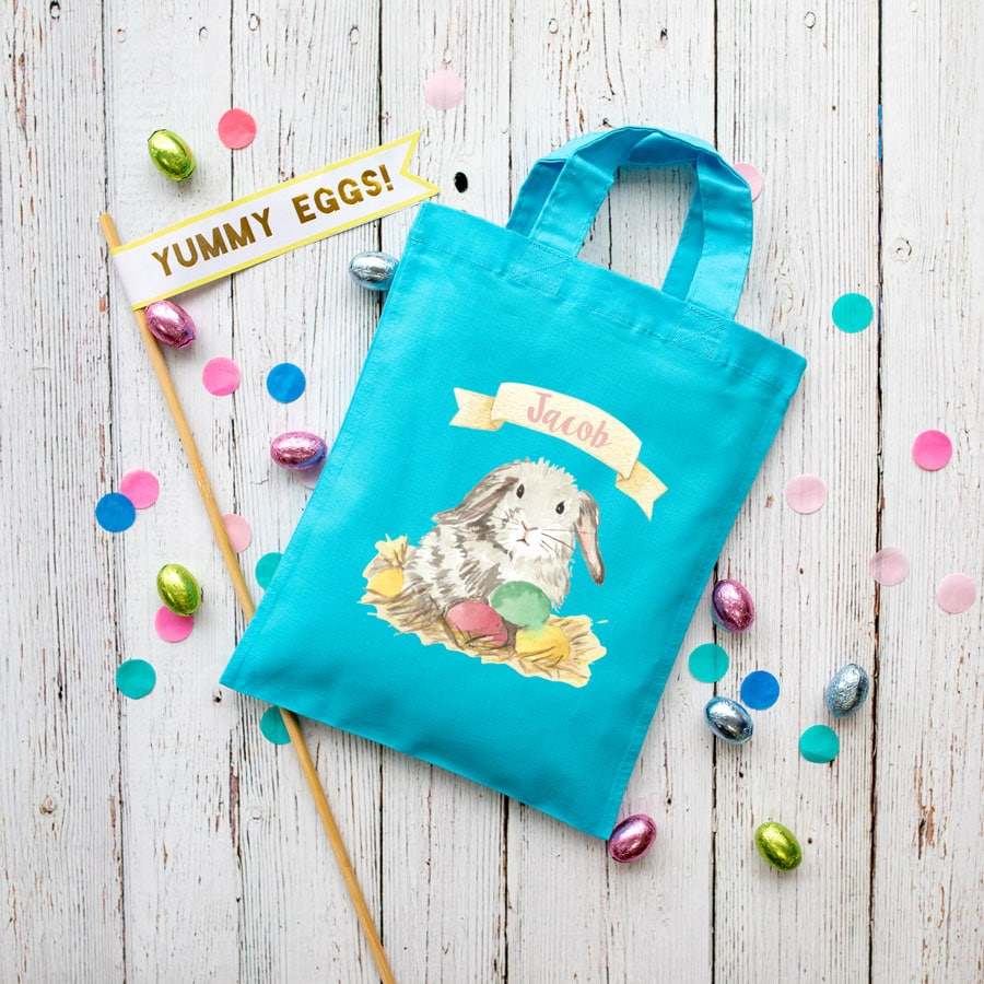 Personalised bunny Easter bag (Turquoise bag) is the perfect way to make your child's Easter egg hunt super special this year