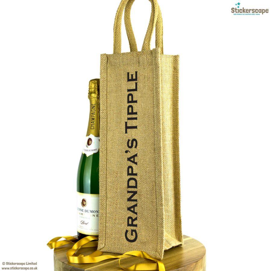 Grandpa's Tipple bottle bag   Gift for grandparents   Stickerscape   UK