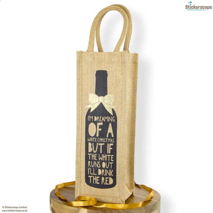 White Christmas bottle bag | Gift bottle bags | Stickerscape | UK