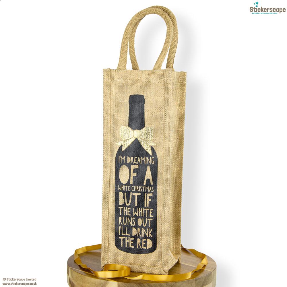 White Christmas bottle bag   Gift bottle bags   Stickerscape   UK