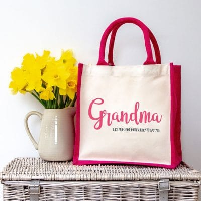 Grandma more likely to say yes canvas bag (Pink bag) a perfet