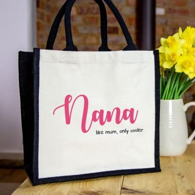 Nana 'like mum only cooler' canvas bag (Pink bag) perfect gift for Mother's Day or for a grandmother