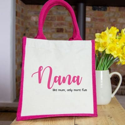 Nana like mum only more fun canvas bag (Pink bag) perfect gift for Mother's Day