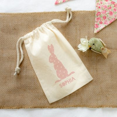 Personalised pink bunny drawstring Easter bag perfect for your child's Easter egg hunt this year