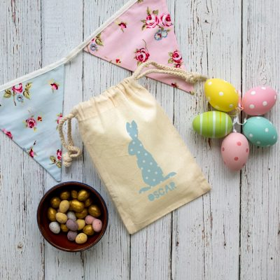 Personalised blue bunny drawstring Easter bag perfect for your child's Easter egg hunt this year