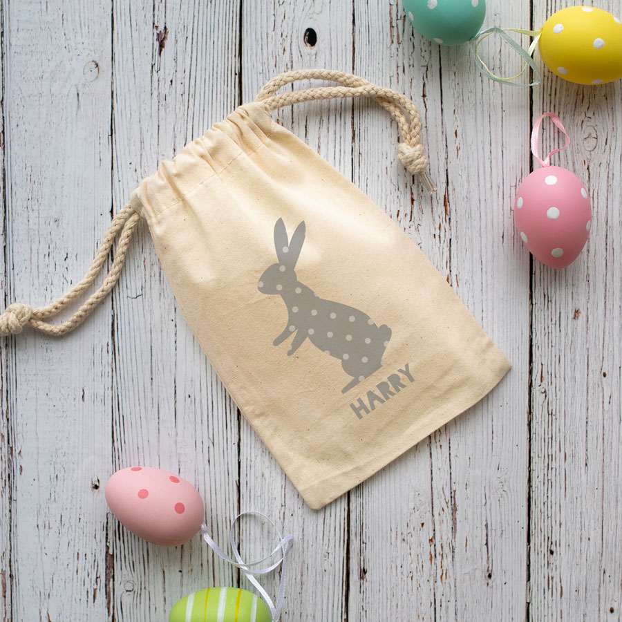 Personalised grey bunny drawstring Easter bag perfect for your child's Easter egg hunt this year