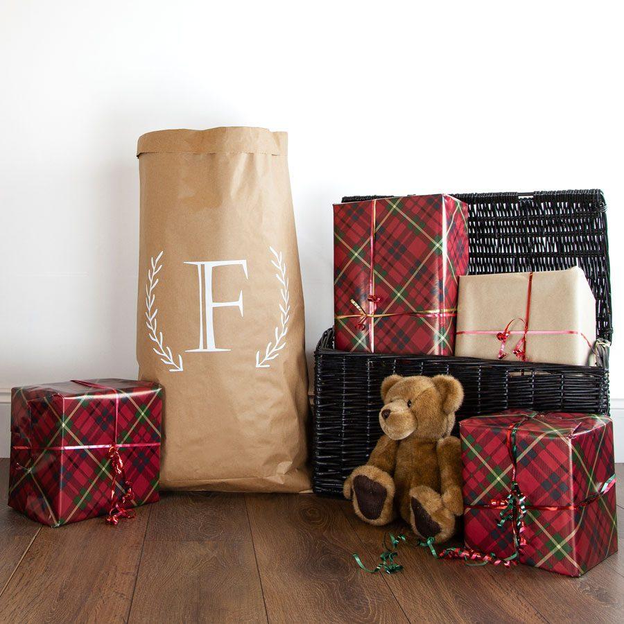 Personalised monogram wreath paper sack | Paper sacks | Stickerscape | UK