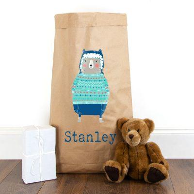 Personalised Christmas bear paper sack | Paper sacks | Stickerscape | UK