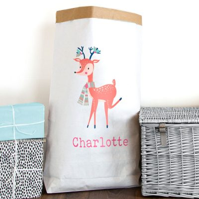 Personalised Christmas deer paper sack | Paper sacks | Stickerscape | UK