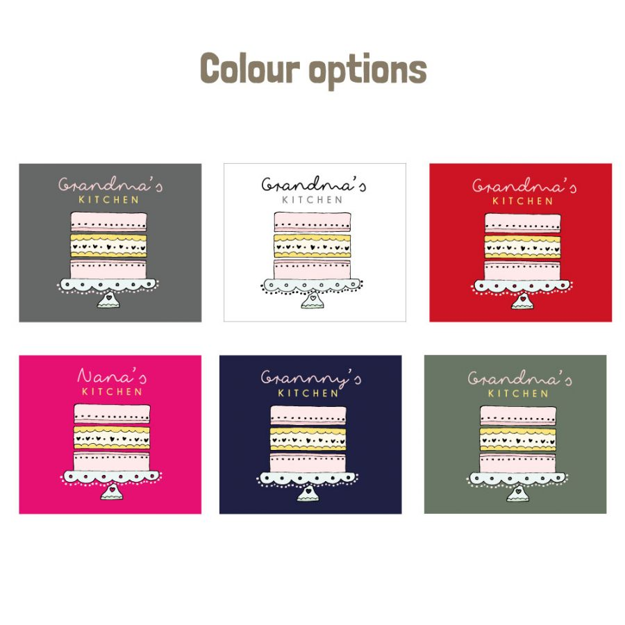 Grandma's Kitchen apron colour options