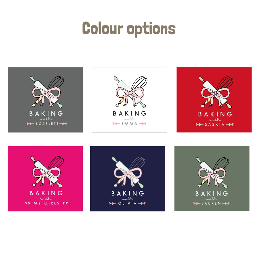 Personalised baking apron (Adult) colour options