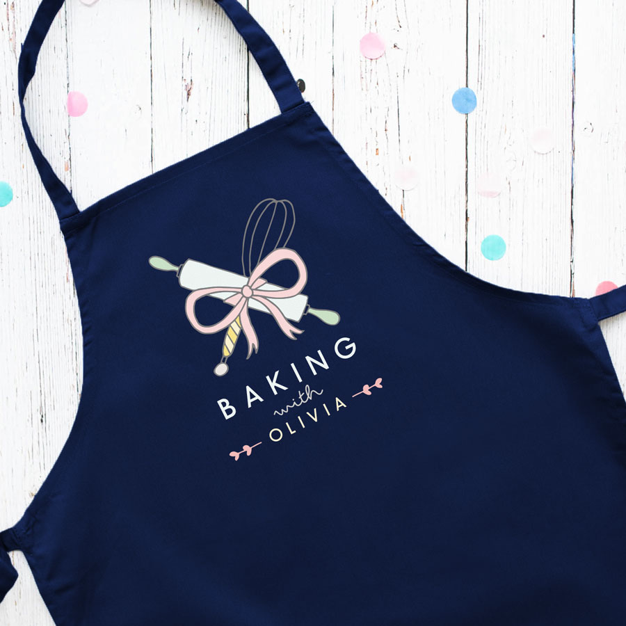 Personalised baking apron (Adult - Navy) is a perfect gift for a keen baker and fully personalisable with a name of your choice