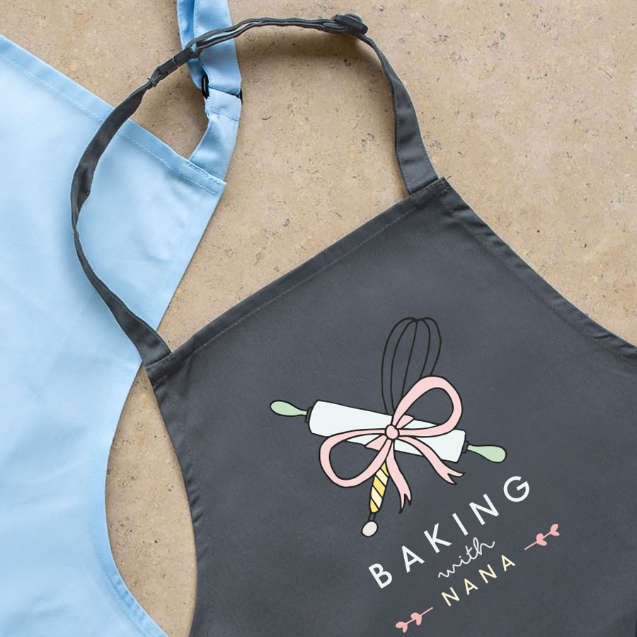 Personalised baking apron (Child - Grey) perfect gift for a child who loves to help out when baking!