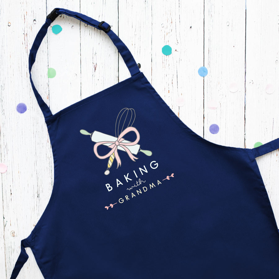 Personalised baking apron (Child - Navy) perfect gift for a child who loves to help out when baking!