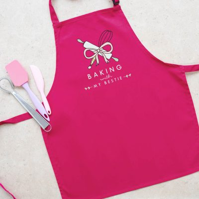 Personalised baking apron (Child - Pink) perfect gift for a child who loves to help out when baking!