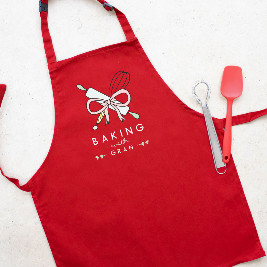 Personalised baking apron (Child - Red) perfect gift for a child who loves to help out when baking!