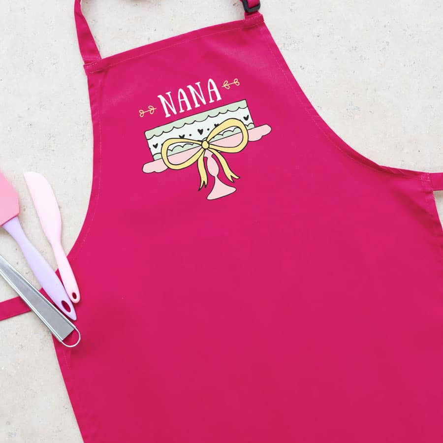 Personalised cake apron (Adult - Pink) a perfect gift for a keen baker for birthday's, Mother's Day or even Christmas