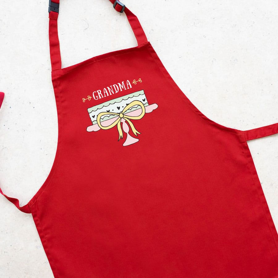 Personalised cake apron (Adult - Red) a perfect gift for a keen baker for birthday's, Mother's Day or even Christmas