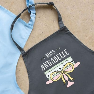 Personalised cake apron (Child - Grey) perfect gift for a child who loves to help out when baking!