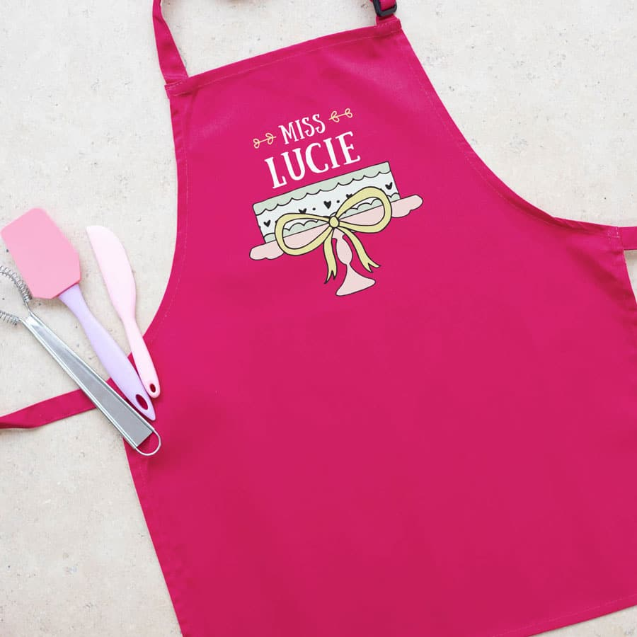 Personalised cake apron (Child - Pink) perfect gift for a child who loves to help out when baking!