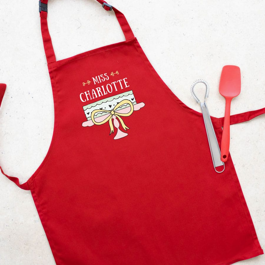 Personalised cake apron (Child - Red) perfect gift for a child who loves to help out when baking!
