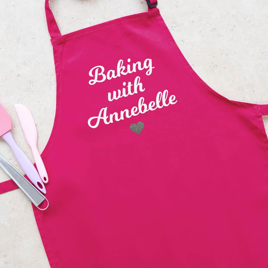 Personalised baking with apron (Adult) with heart (Pink) is a perfect gift for a baker who loves baking with their children
