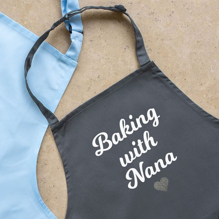 Personalised baking with apron (Child) with heart (Grey) a perfect gift for children who love to help you bake!