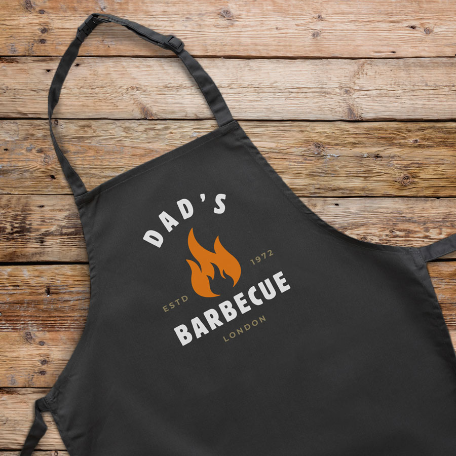 Personalised barbecue flame apron (Adult) in black is a perfect gift for a brother, father or Grandad on their birthday or as a gift for father's day