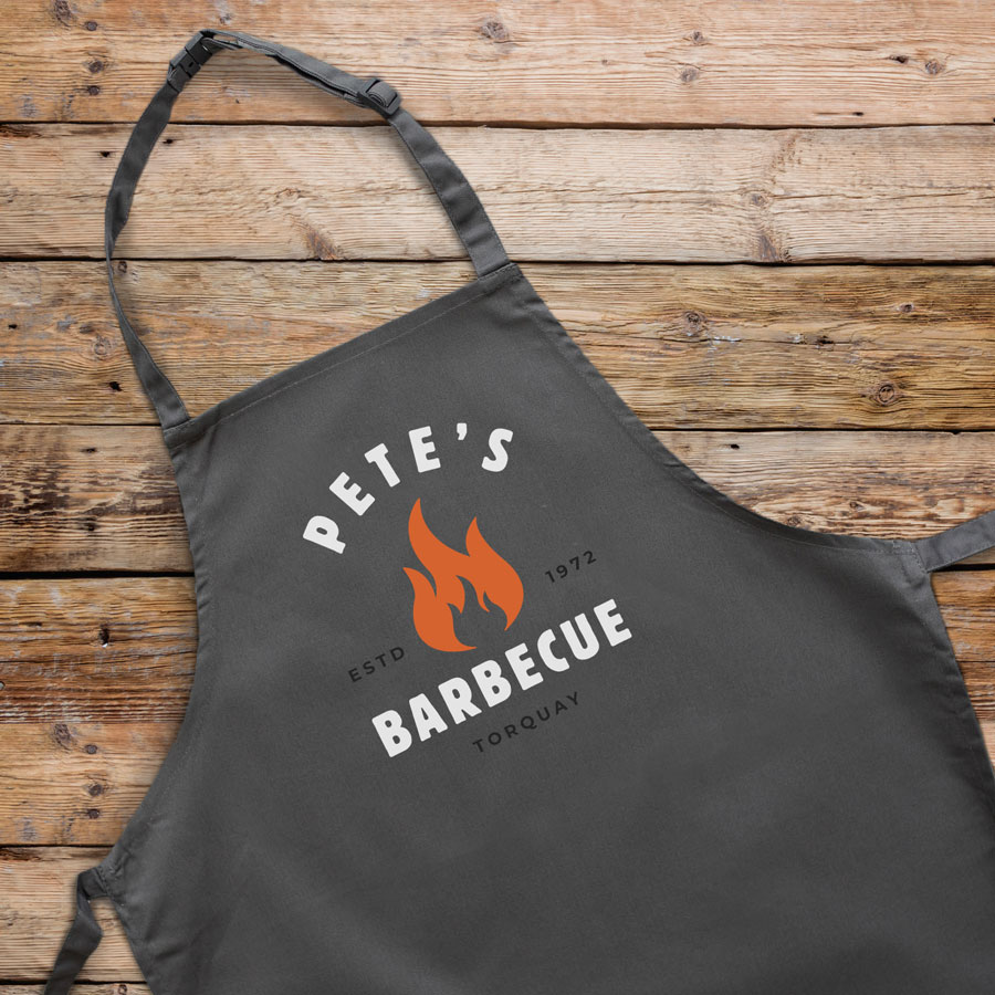 Personalised barbecue flame apron (Adult) in grey is a perfect gift for a brother, father or Grandad on their birthday or as a gift for father's day