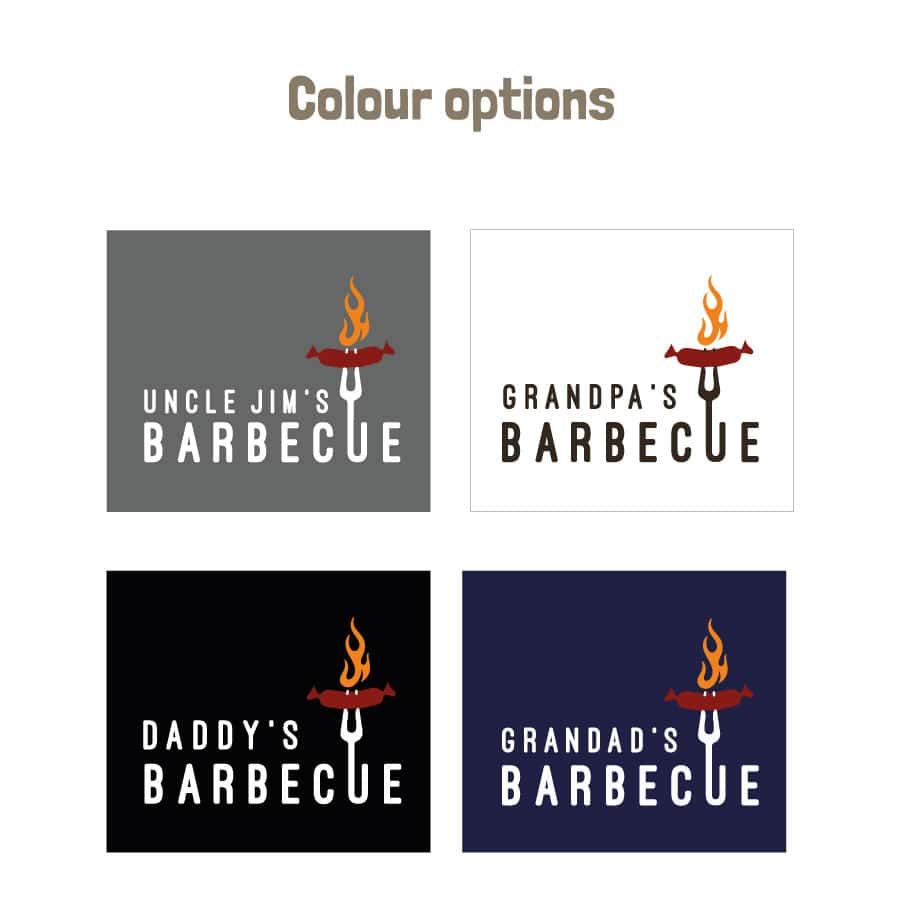Personalised sizzling sausage apron (Adult) colour options