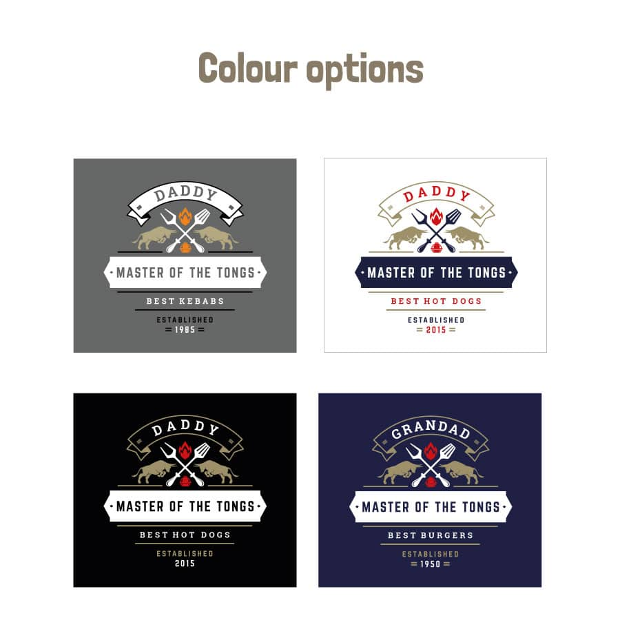Personalised master of the tongs apron (Adult) colour options
