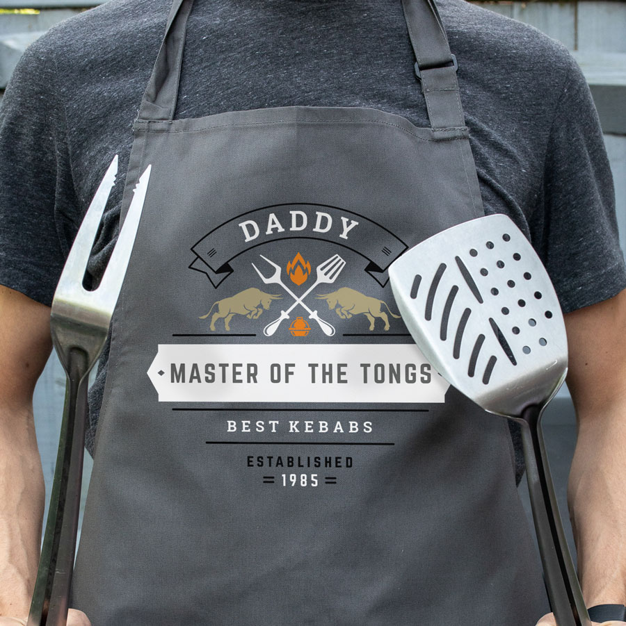 Personalised master of the tongs apron (Adult) in grey is a perfect gift for a brother, father or Grandad on their birthday or as a gift for father's day