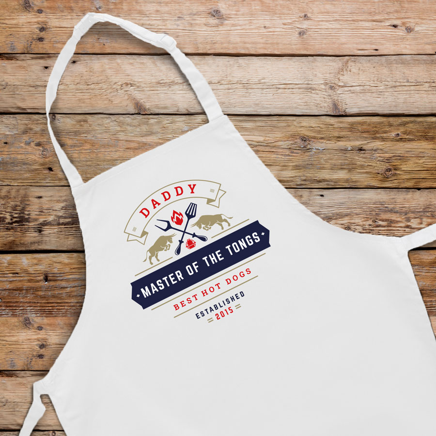 Personalised master of the tongs apron (Adult) in white is a perfect gift for a brother, father or grandad on their birthday or as a gift for father's day