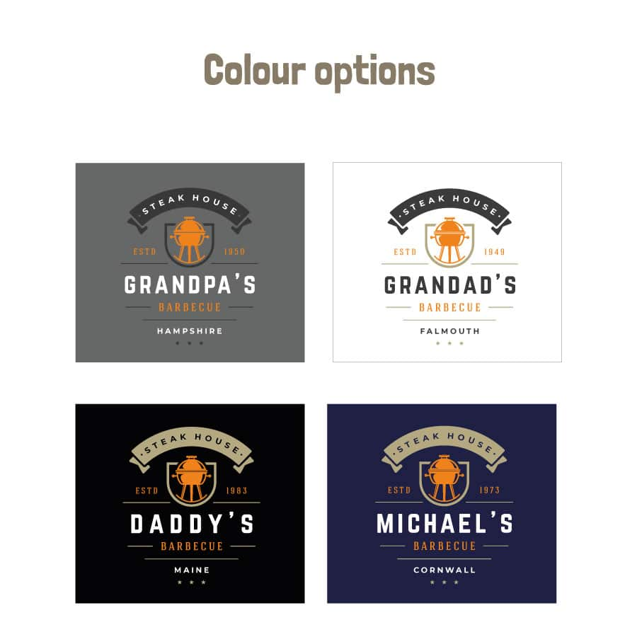 Personalised kettle barbecue apron (Adult) colour options
