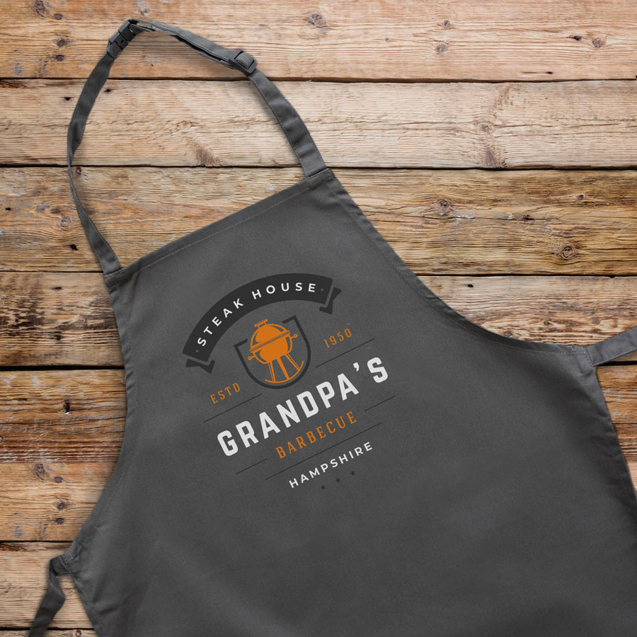 Personalised kettle barbecue apron (Adult) in grey is a perfect gift for a brother, father or Grandad on their birthday or as a gift for father's day