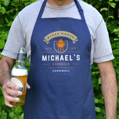 Personalised kettle barbecue apron (Adult) in navy is a perfect gift for a brother, father or Grandad on their birthday or as a gift for father's day