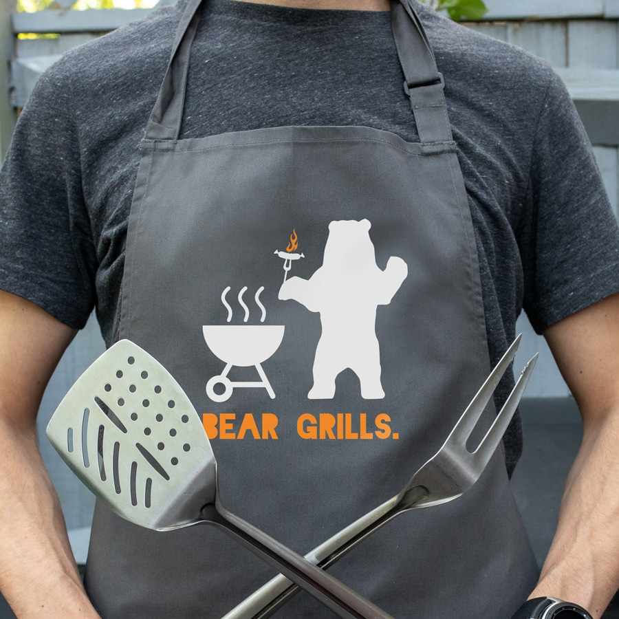 Bear Grills apron (Adult - Grey) perfect gift for dads and available in 5 different colour options