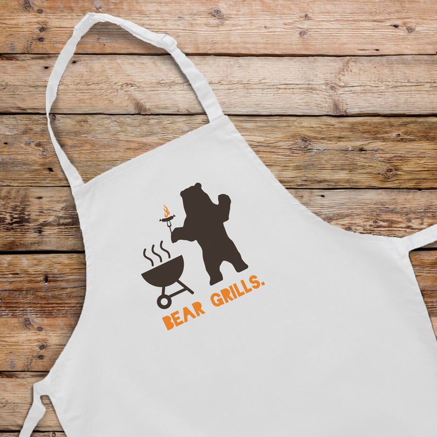 Bear Grills apron (Adult - White) perfect gift for dads and available in 5 different colour options