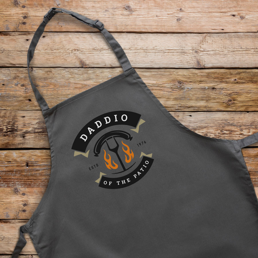 Daddio of the patio apron (Adult - Grey) perfect gift for dads and available in 5 different colour options