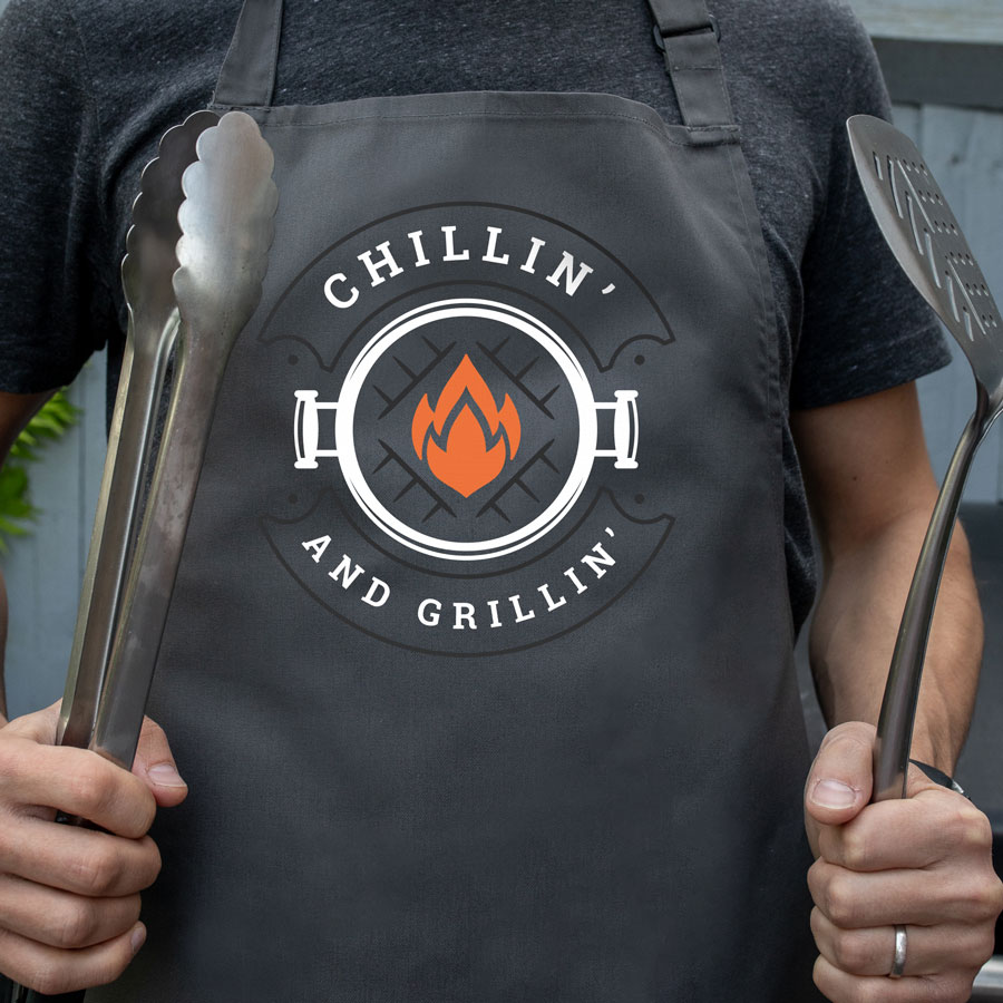 Chillin' and grillin' apron (Adult - Grey) perfect gift for dads and available in 5 different colour options