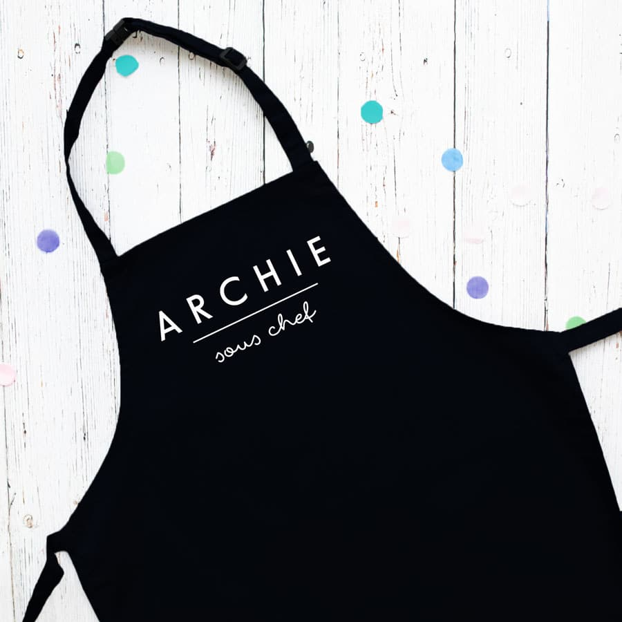 personalised sous chef apron (Black) perfect gift for a child who loves to help with baking and cooking