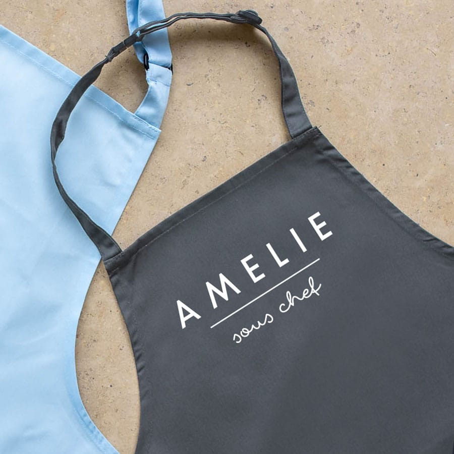 personalised sous chef apron (Grey) perfect gift for a child who loves to help with baking and cooking