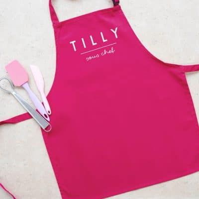 Personalised sous chef apron (Pink) perfect gift for a child who loves to help with baking and cooking