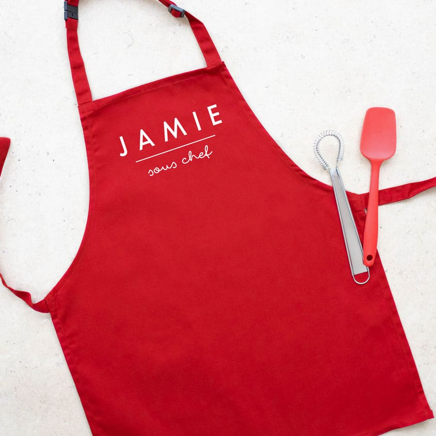 Personalised sous chef apron (Red) perfect gift for a child who loves to help with baking and cooking
