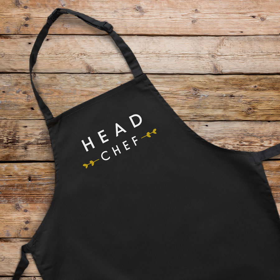 Head chef apron (Black) perfect gift for father's day, mother's day or birthdays