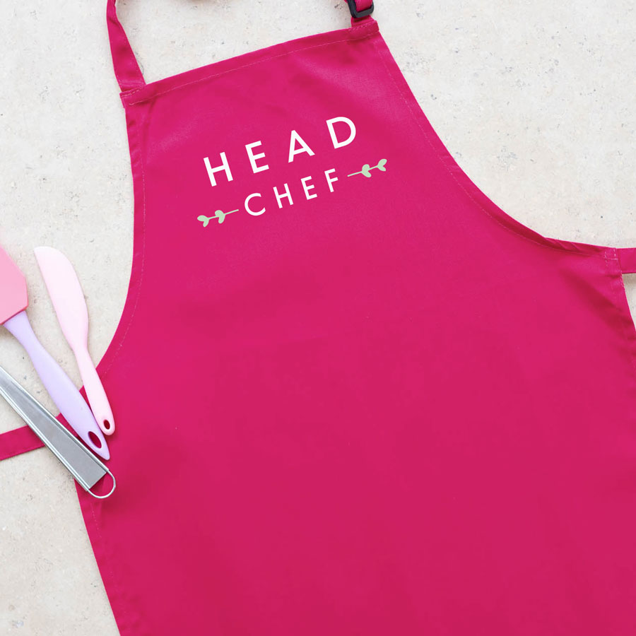 Head chef apron (Pink) perfect gift for father's day, mother's day or birthdays