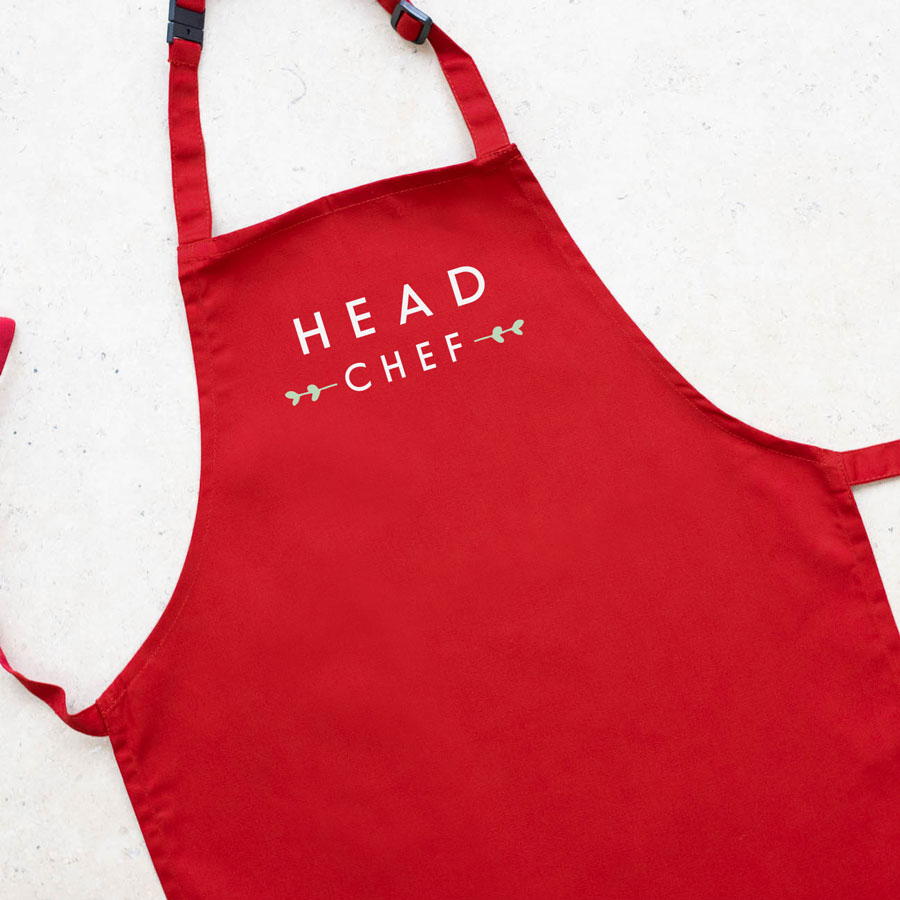 Head chef apron (Red) perfect gift for father's day, mother's day or birthdays