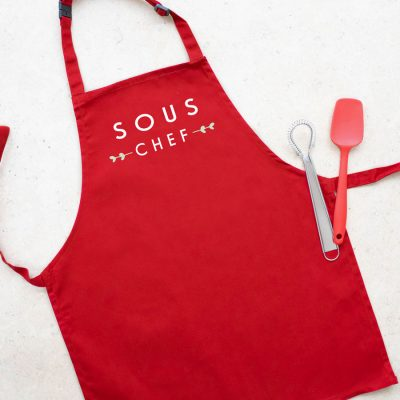 Sous chef apron (Red) perfect gift for a child who loves to help with baking and cooking