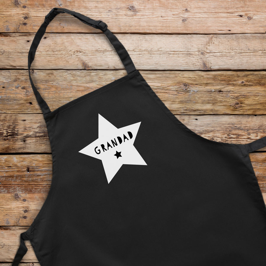 Personalised star apron (Black) perfect gift for father's day, mother's day or birthdays